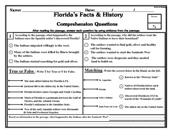 Florida & Florida Studies: Main Idea, KWL Chart, Reading Comprehension, Writing