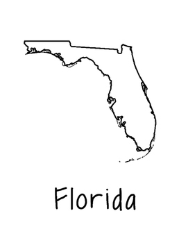 Florida Map Coloring Page Craft - Lots of Room for Note-Taking & Creativity