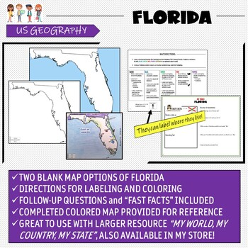Florida Map Skills and Geography- Label and Color Activity!