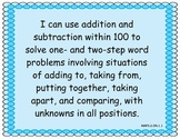 2nd Grade Florida Math Standards I Can Posters, Blue
