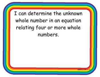 2nd Grade Florida Math Standards I Can Posters, Rainbow