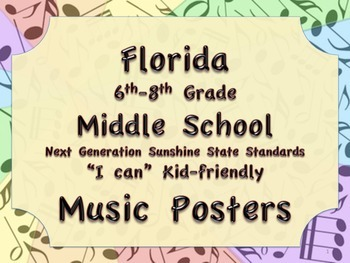Florida Middle School MS MUSIC 6-8 NGSSS Standards Posters