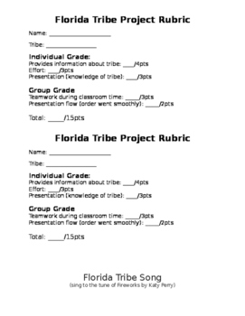 EDITABLE Florida Native American Tribes Project and SONG