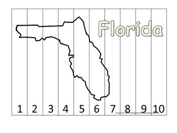 Florida Number Sequence Puzzle.  Learn the States preschool printable game.