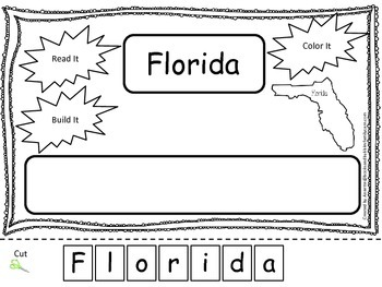 Florida Read it, Build it, Color it Learn the States preschool worksheet.