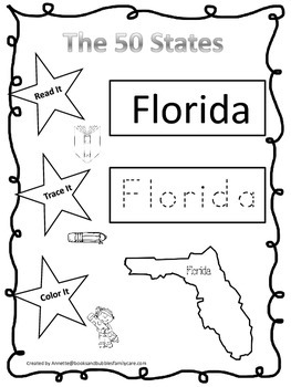 Florida Read it, Trace it, Color it Learn the States preschool worksheet.