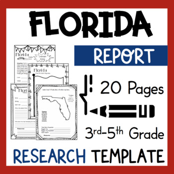 Florida State Research Report Project Template with bonus timeline Craftivity FL