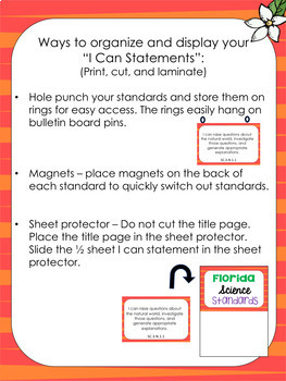 Florida Science Standards: I Can Statements for 3rd Grade
