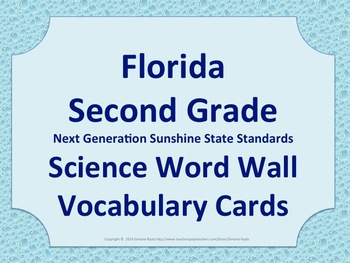Florida Science Word Wall 2nd Second Grade Vocabulary NGSSS Aligned Raindrops