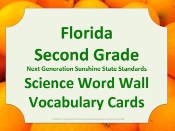 Florida Science Word Wall 2nd Second Grade Vocabulary NGSS