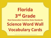 Florida Science Word Wall 3rd Third Grade Vocabulary NGSSS Aligned Yellow