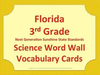 Florida Science Word Wall 3rd Third Grade Vocabulary NGSSS