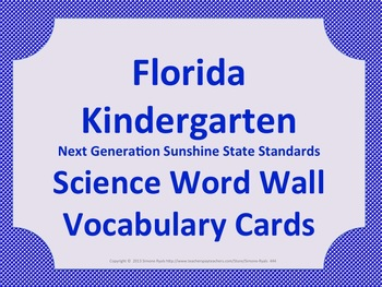 Florida Science Word Wall K Kindergarten Vocabulary NGSSS Aligned