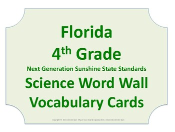 Florida Science Word Wall 4th Fourth Grade Vocabulary NGSSS NO BORDER