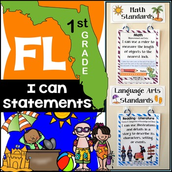 Florida Standards - I Can Statements Math & ELA (1st Grade) - Full Page Size