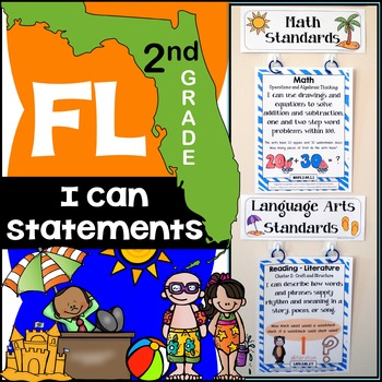Florida Standards - I Can Statements Math & ELA (2nd Grade) - Full Page Size