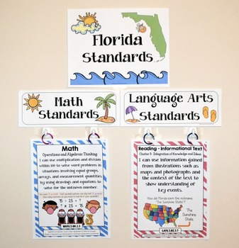 Florida Standards - I Can Statements Math & ELA (3rd Grade) - Full Page Size