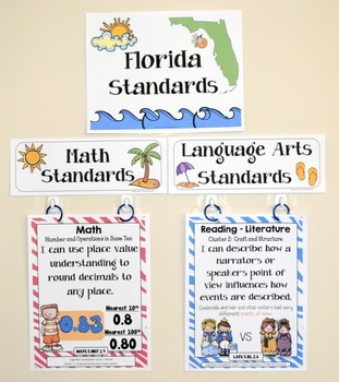 Florida Standards - I Can Statements Math & ELA (5th Grade) - Full Page Size