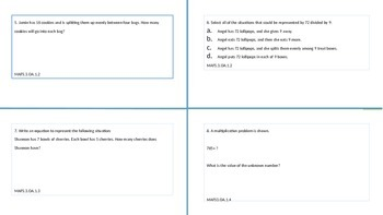 FSA Math Practice Task Cards for Third Grade, Packet 1