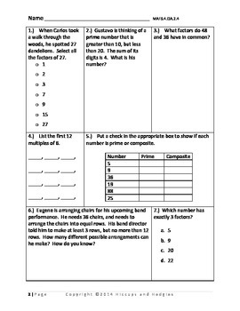 Florida Standards Assessment Practice- FSA style questions 4th Grade Common Core