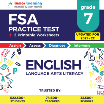 Florida Standards Assessments Practice Test, Worksheets - FSA Grade 7 ELA
