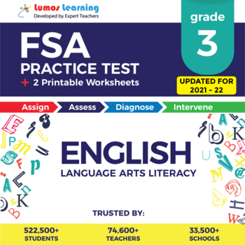 Florida Standards Assessments Practice Test, Worksheets - FSA Grade 3 ELA