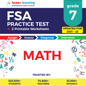 Florida Standards Assessments Practice Test, Worksheets - Grade 7 Math FSA