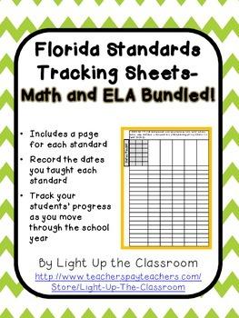 Florida Standards Bundled Tracking Sheets (2nd Grade)- Mar