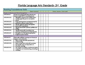 Florida Standards Checklist LAFS 2nd Grade