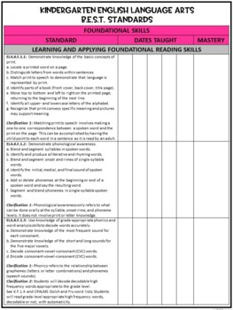 Florida Standards Checklist for Kindergarten