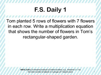 Florida Standards Daily 3rd Grade: MAFS3.OA.1.1