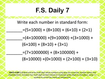 Florida Standards Daily 4th Grade: NBT.1.2
