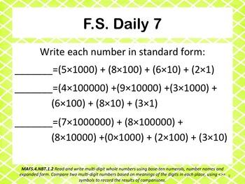 Florida Standards Daily 4th Grade: NBT.1.2