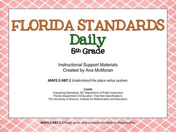Florida Standards Daily Math-5th Grade: MAFS5.NBT.1.3