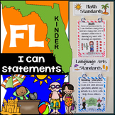 Florida Standards - I Can Statements Math & ELA (Kindergarten) - Full Page Size