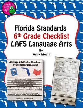 Florida Standards LAFS Language Arts 6th Grade Checklist Layered Flap Book