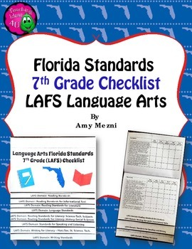 Florida Standards LAFS Language Arts 7th Grade Checklist Layered Flap Book