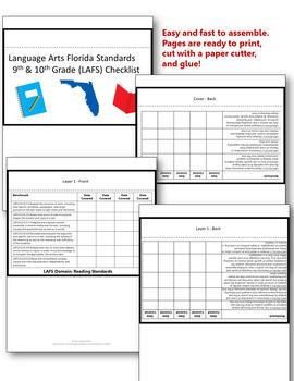 Florida Standards LAFS Language Arts 9th/10th Grade Checklist Layered Flap Book