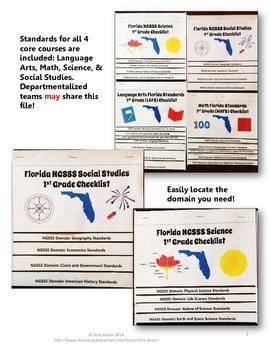 Florida Standards LAFS MAFS NGSSS 1st Grade Checklists Layered Flap Books