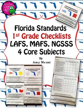 Florida Standards LAFS MAFS NGSSS 1st Grade Checklists Lay