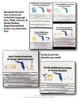 Florida Standards LAFS MAFS NGSSS 3rd Grade Checklists Layered Flap Books