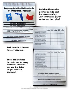 Florida Standards LAFS MAFS NGSSS 4th Grade Checklists Layered Flap Books