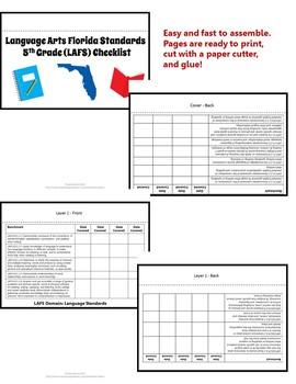 Florida Standards LAFS MAFS NGSSS 5th Grade Checklists Layered Flap Books