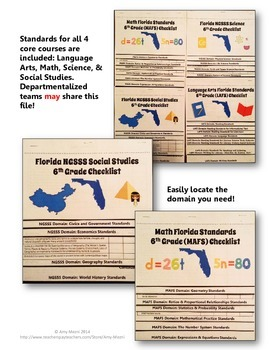 Florida Standards LAFS MAFS NGSSS 6th Grade Checklists Layered Flap Books