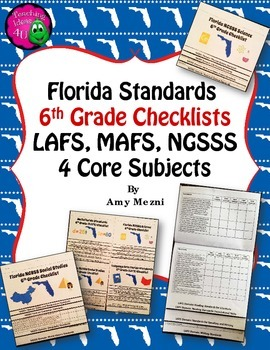 Florida Standards LAFS MAFS NGSSS 6th Grade Checklists Lay