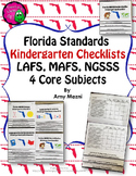 Florida Standards LAFS MAFS NGSSS Kindergarten K Checklists Layered Flap Books