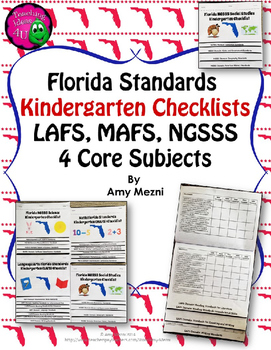 Florida Standards LAFS MAFS NGSSS Kindergarten K Checklist