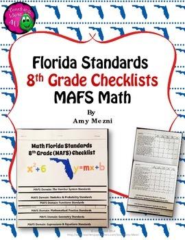 Florida Standards MAFS Math Mathematics 8th Grade Checklist Layered Flap Book