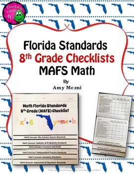 Florida Standards MAFS Math Mathematics 8th Grade Checklist Layered Flap Book