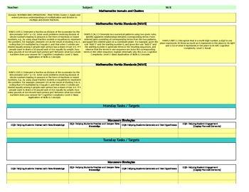 Florida Standards /Marzano Interactive Lesson Plan Template-Fifth Grade MAFS